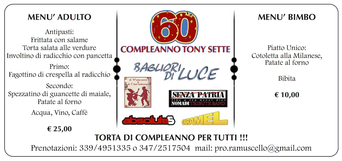 Tony 60° Menu